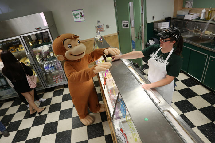 Curious George at the MSU Dairy Store