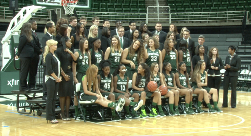 The MSU Women's Basketball Team poses for a team photo at Media Day inside of the Breslin Center.