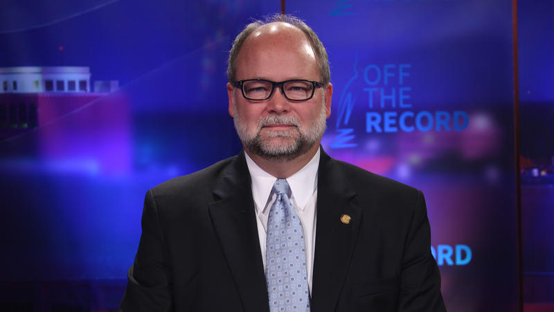Republican Senate Leader, Arlan Meekhof appearing on Off the Record with Tim Skubick.