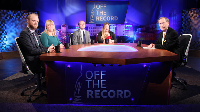 Craig Mauger, Alethia Kasben, Susan Demas, and Jonathon Oosting appearing on Off the Record with Tim Skubick.