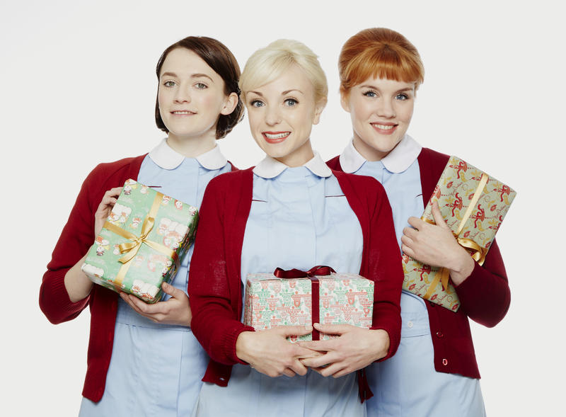L-R: Nurse Barbara Gilbert (Charlotte Ritchie), Nurse Trixie Franklin (Helen George) and Nurse Patsy Mount (Emerald Fennell) celebrate the holidays.