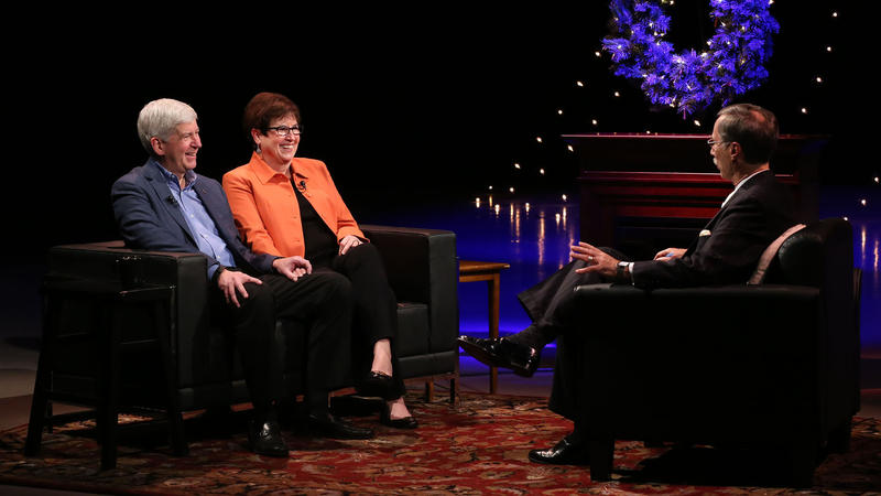 Governor Rick Snyder and First Lady Sue Snyder appearing with TIm Skubick on an Evening with the Governor.