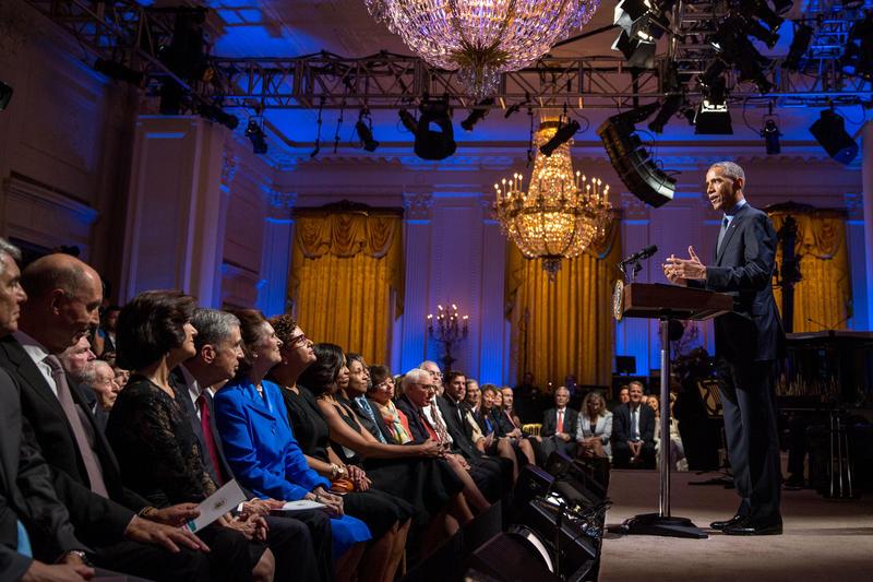 President Barack Obama delivers remarks.