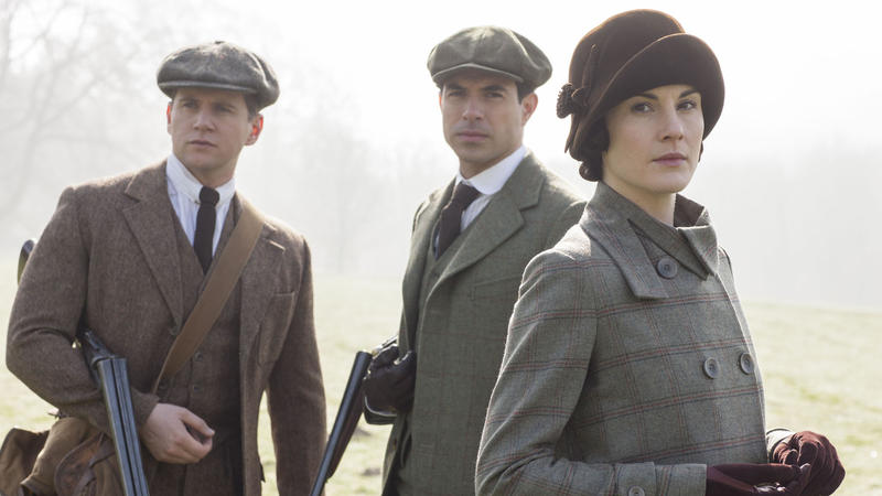 Shown from left to right: Allen Leech as Tom Branson, Tom Cullen as Lord Gillingham, and Michelle Dockery as Lady Mary