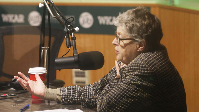 Lou Anna Simon in radio studio
