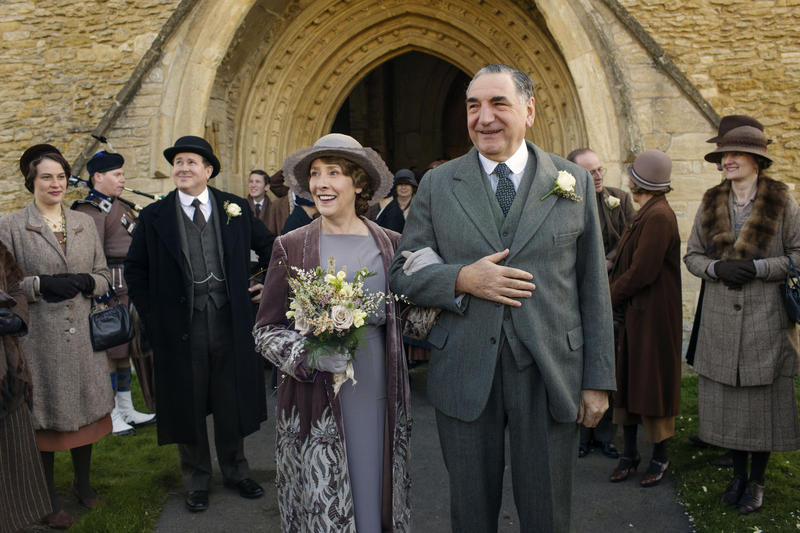 Scene from Ep. 5 (l-r) Phyllis Logan as Mrs. Hughes and Jim Carter as Mr. Carson