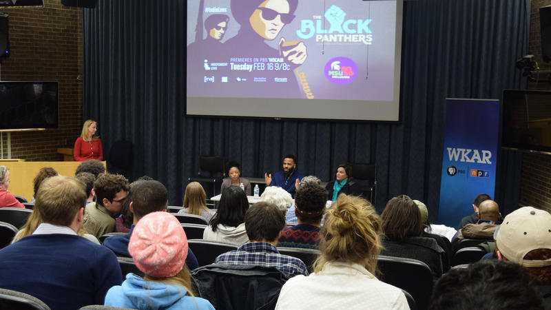 Community members filled the WKAR media auditorium for discussion of 'The Black Panthers.' (l-r) WKAR TV Station Manager Susi Elkins and panelists Kelsi Horn, Pero Dagbovie, Aida Cuadrado.