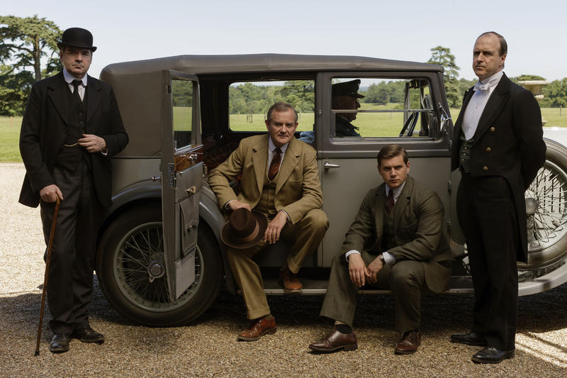 Shown from left to right: Brendan Coyle as Bates, Hugh Bonneville as Lord Grantham, Allen Leech as Tom Branson, and Kevin Doyle as Molesley