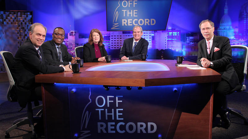Former capitol correspondents Chris Christoff, Ken Cole, Kathy Hoffman and David Waymire appearing on Off the Record with Tim Skubick.
