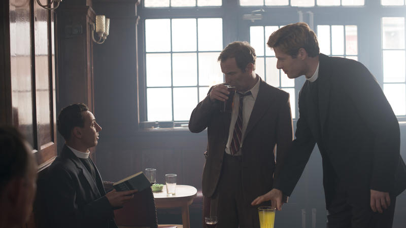 Scene from Ep. 3 (l-r)  Al Weaver as Leonard Finch, Robson Green as Inspector Keating, and James Norton as Sidney Chambers