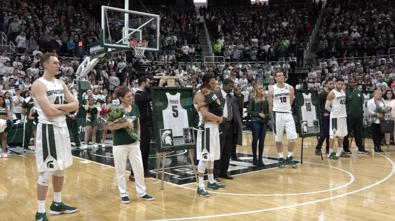 The Michigan State seniors on the men's basketball team lined up for the Senior Day ceremony at the Breslin Center.