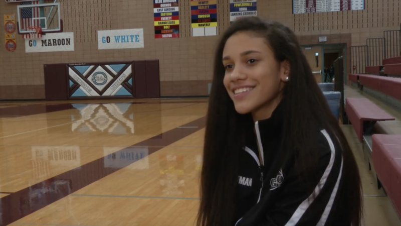 Laya Hartman is only a freshman, but is a standout on the varsity girl's basketball team at Okemos High School.