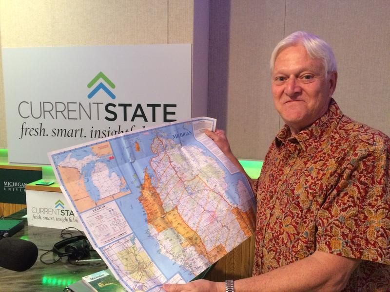Ken Dunlap with one of his Michigan maps.
