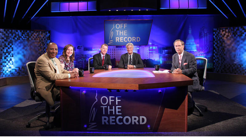 Chuck Stokes, Emily Lawler, Rick Pluta and Bill Ballenger appearing on Off the Record with Tim Skubick.