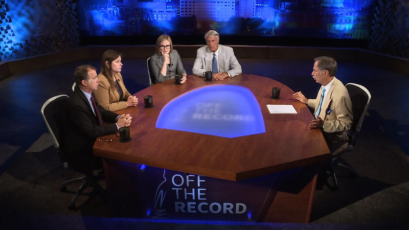 Rick Pluta, Emily Lawler, Zoe Clark and Bill Ballenger appearing on Off the Record with Tim Skubick.