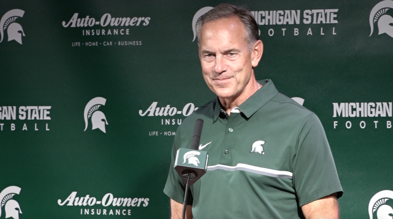 MSU Football Coach Mark Dantonio speaks during Media Day at Spartan Stadium on Monday afternoon.