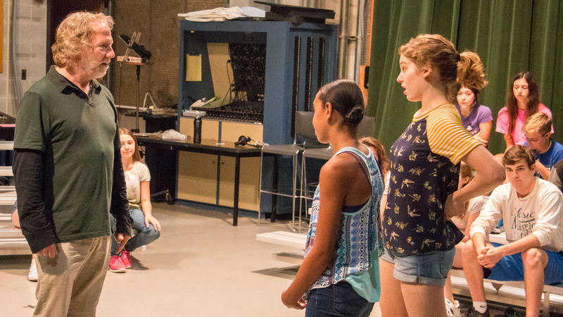 Tim Busfield and students working on acting tactics.