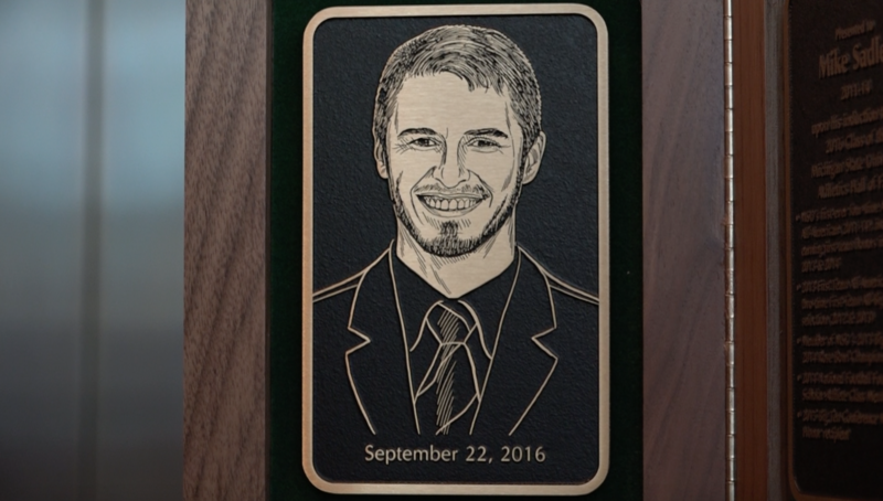 The Hall of Fame plaque of late MSU punter Mike Sadler, who was killed in a car accident this past Summer.