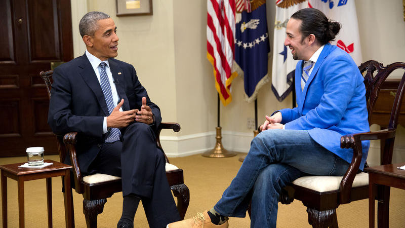 President Barack Obama and Lin-Manuel Miranda in the West Wing of the White House, March 2016, in a scene from Hamilton's America