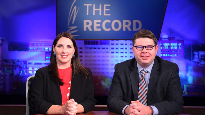 Ronna Romney McDaniel and Brandon Dillon appearing on Off the Record with Tim Skubick.