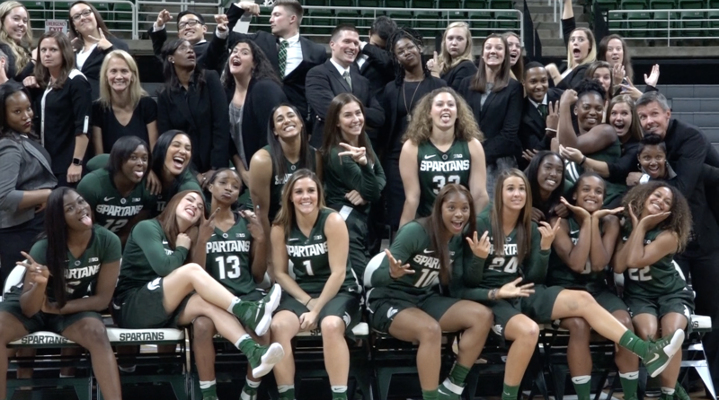 "The 2016-17 MSU women's basketball team poses for a ""silly"" photo during Media Day on Wednesday afternoon."