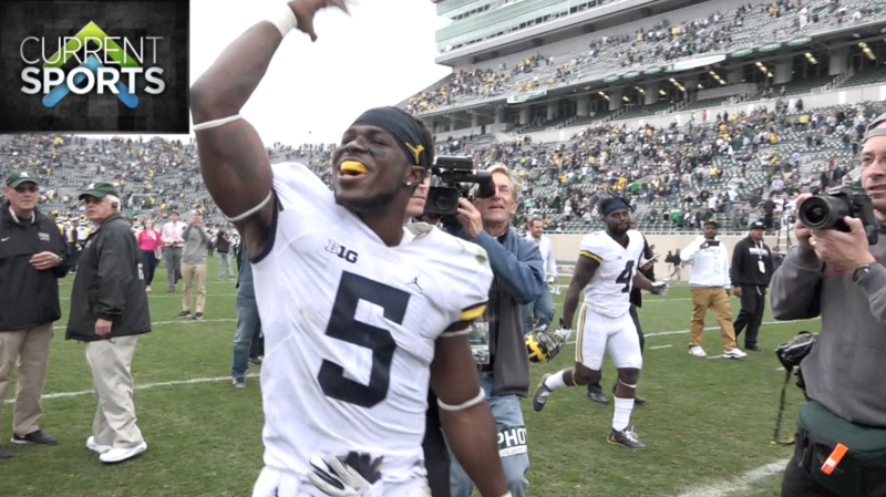 Michigan junior linebacker Jabrill Peppers celebrates after Michigan defeats Michgian State on Saturday afternoon.