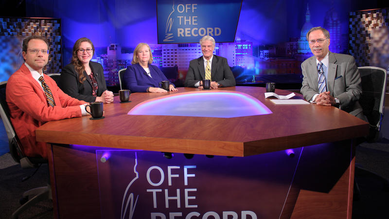Kyle Melinn, Kathy Gray, Emily Lawler and Bill Ballenger appearing on Off the Record with Tim Skubick.
