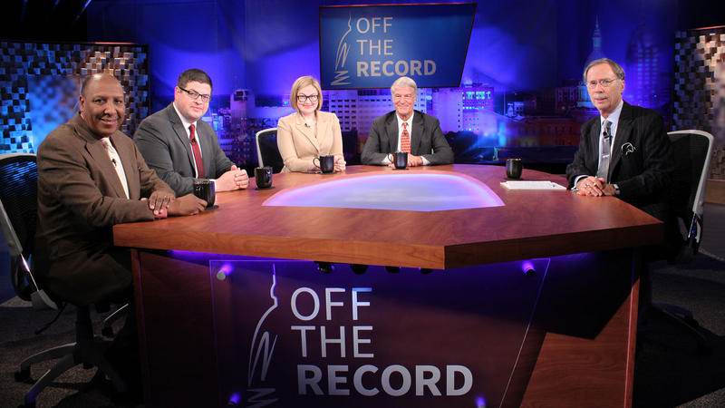 Bill Ballenger, Chuck Stokes, Zoe Clark and Chad Livengood appearing on Off the Record with Tim Skubick.