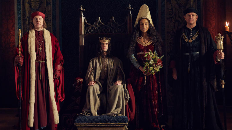 Scene from Ep. 1 (l-r) Samuel West as Bishop of Winchester, Tom Sturridge as Henry VI, Sophie Okonedo as Margaret, and Hugh Bonneville as Gloucester