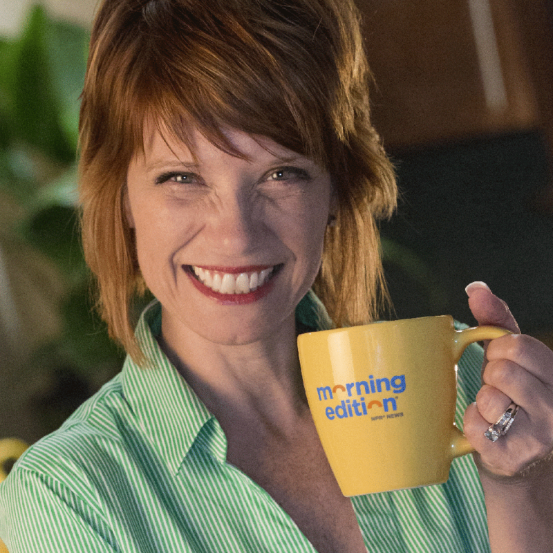 Brooke with Morning Edition coffee mug