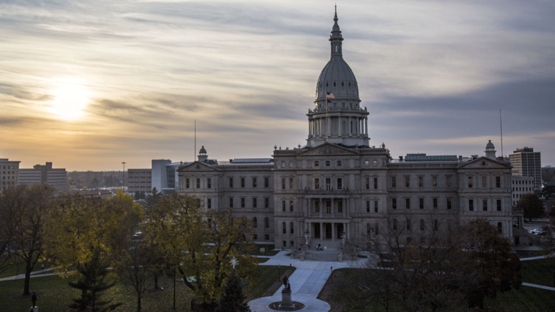Michigan capitol building at sunset