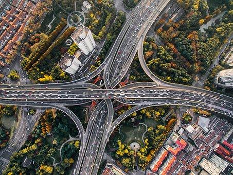 Aerial view of urban highways