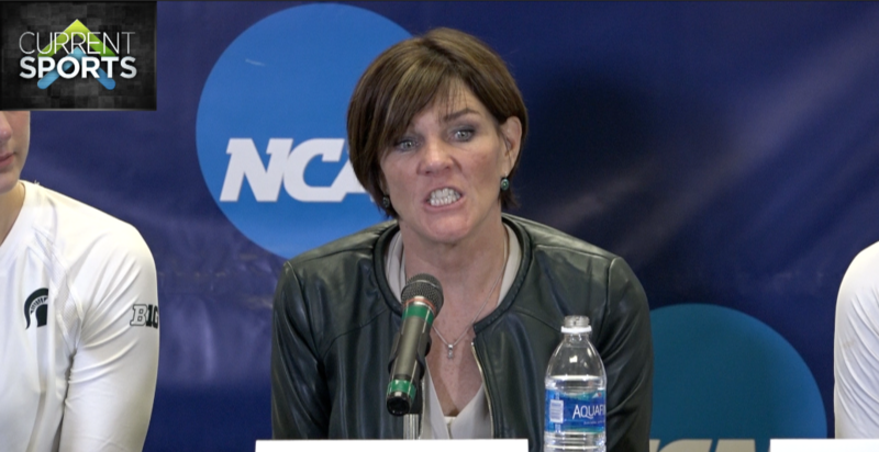 MSU Women's Volleyball head coach Cathy George displays a face of frustrated after being eliminated by Arizona in the NCAA Volleyball Championship second round.