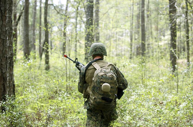 A U.S. Marine patrols through a forest during a field exercise at Marine Corps Base Camp Lejeune, North Carolina on April 3, 2012.
