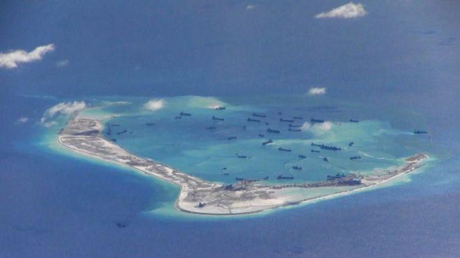 China has built islands on reefs and, says a think-tank, is building military facilities on some