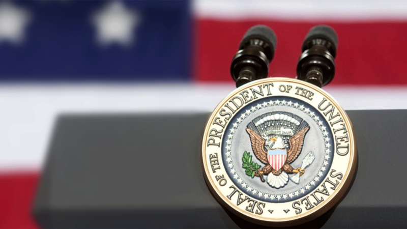 presidential seal on podium