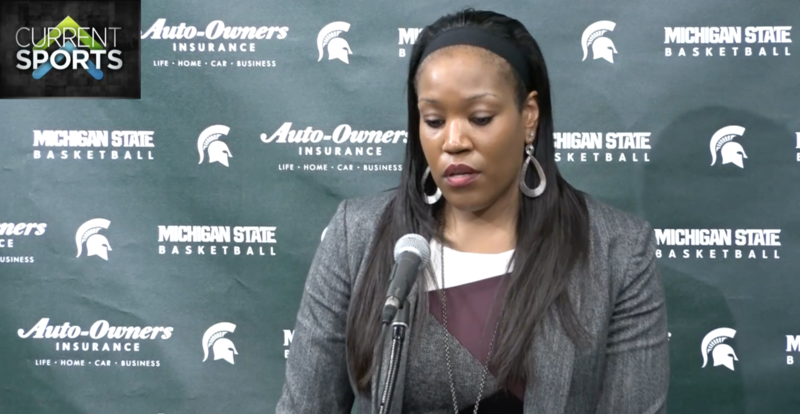 Interim head coach of the MSU women's basketball team, Amaka Agugua, address the media after the 76-66 home loss to Purdue.
