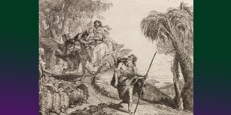 Giovanni Domenico Tiepolo (Italian, 1727–1804); The Holy Family Descending a Forest Path Near a Flock and Some Shepherds, from The Flight into Egypt, 1750–1753; Etching on off-white laid paper; Image 7 1/8 x 9 ½ inches; Jansma Collection, Grand Rapids Art