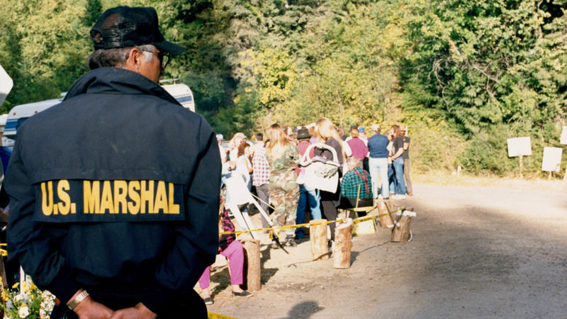 U.S. Marshal at roadblock down the mountain from the Weaver cabin.
