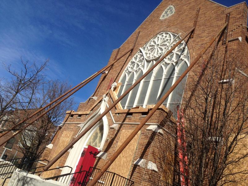 Bracing the south wall of Lansing's St. Paul's Episcopal Church
