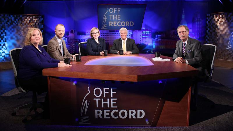 Kathy Gray, Jonathan Oosting, Zoe Clark and Bill Ballenger appearing on Off the Record with Tim Skubick.