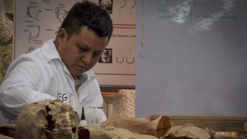 The remains of a genocide victim examined at Guatemalan Forensic Anthropology Foundation.