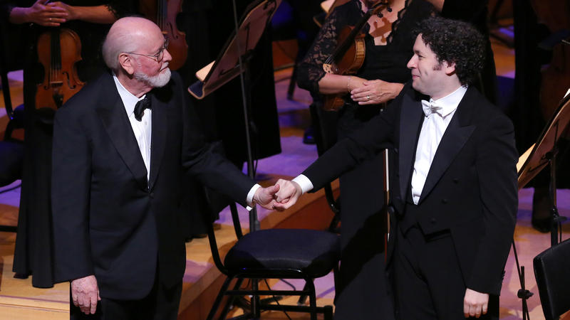 John Williams and Gustavo Dudamel on stage