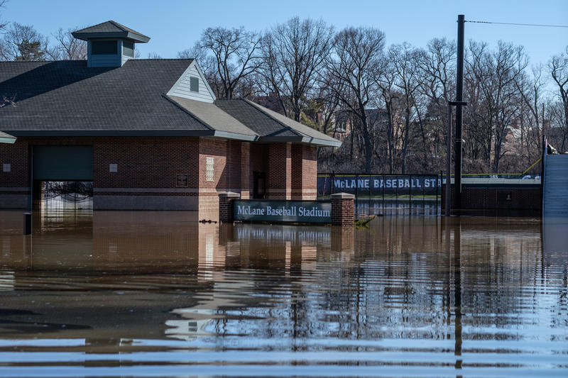 MSU's McLane Baseball Stadium and other athletic fields, closed as flood waters from the Red Cedar river reach 8.4 feet on April 8, 2017. Flood stage is 7.0 feet.