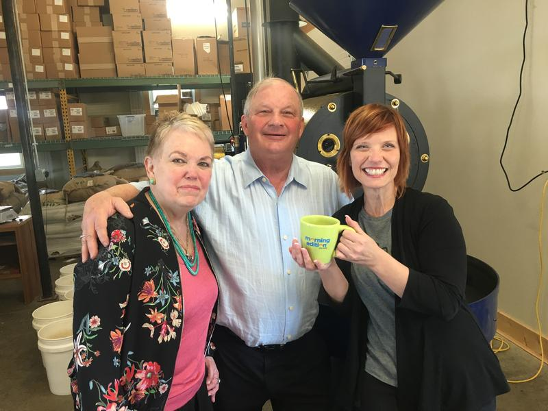 WKAR Morning Edition host Brooke Allen (right) with owners of Blue Hat coffee roasters in Coldwater.