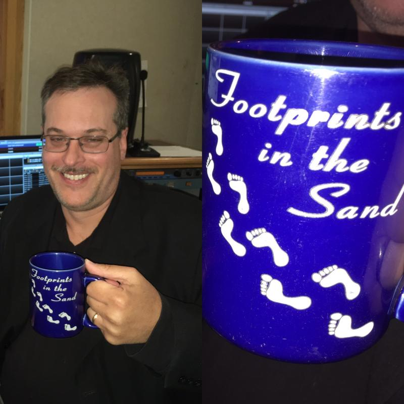 WKAR 's Kevin Lavery holds his mug with a reference that keeps him grounded.