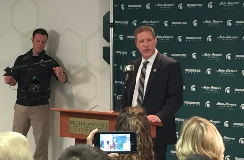 Danton Cole holds first press conference after being named MSU head hockey coach.