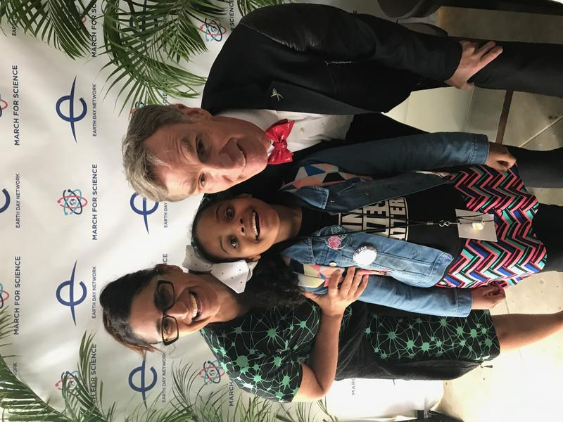 Dr. Mona Hanna-Attisha (left), Mari Copey (center), Bill Nye (right) at the March for Science in Washington. DC