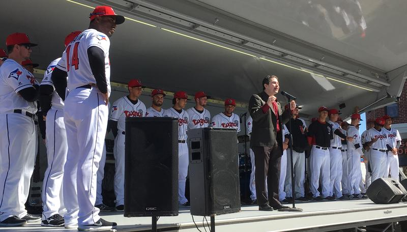 Entire Lansing Lugnuts 2017 team introduced to fans on April 8, 2017. Manager Cesar Martin is on the far left.