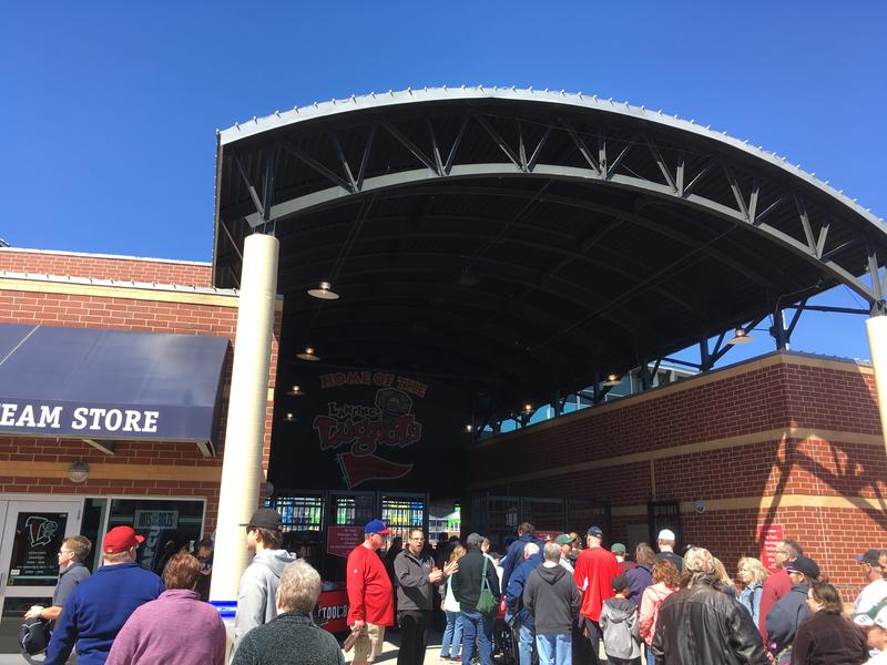 Fans outside Cooley Law School Stadium on Opening Day, April 8, 2017